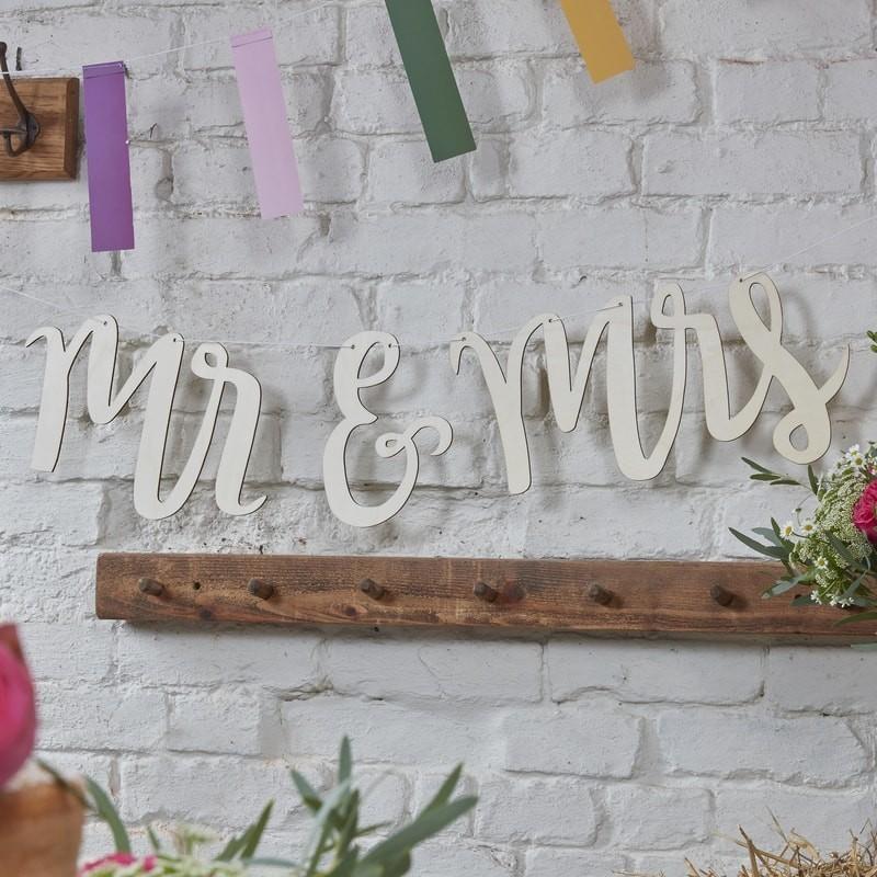Guirnalda madera Mr & Mrs