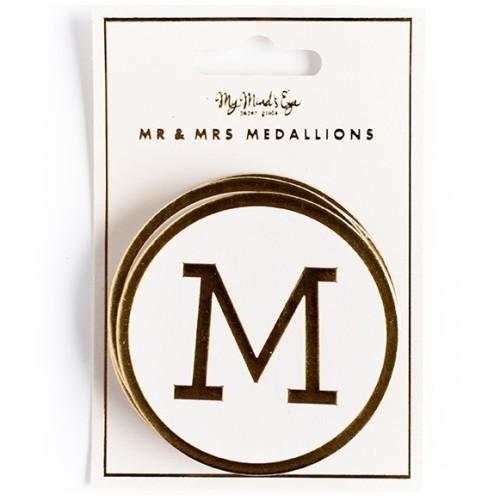 Medallones dorados Mr & Mrs