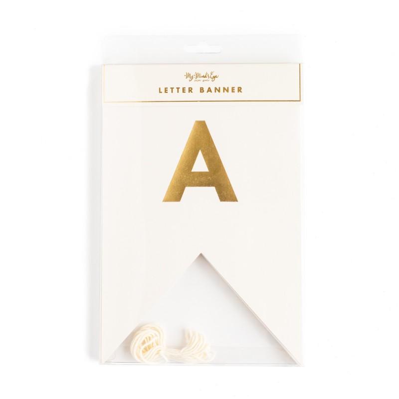 Banderines letras oro