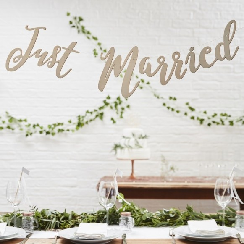 Guirnalda madera Just Married