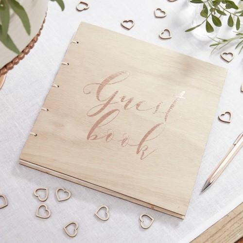 Álbum de firmas madera rose gold