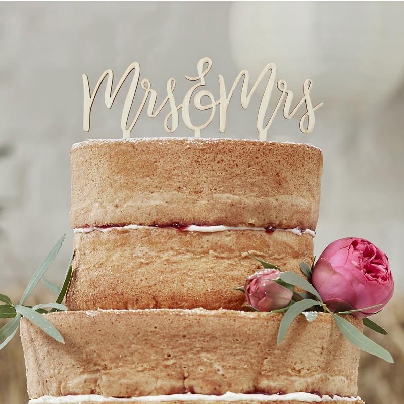Toppers de madera para tarta Mrs & Mrs