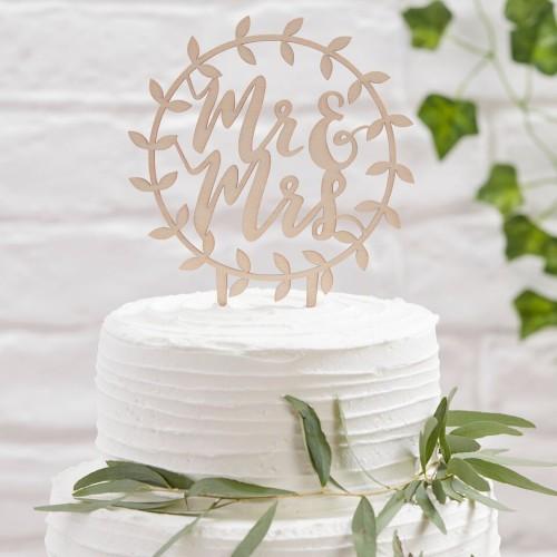 Topper para tarta Mr Mrs círculo