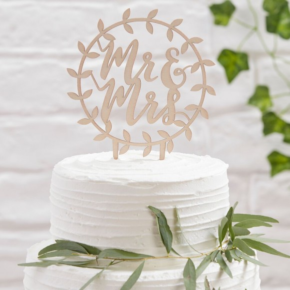 Topper para tarta Mr Mrs círculo