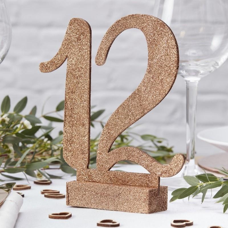 12 números de mesa glitter