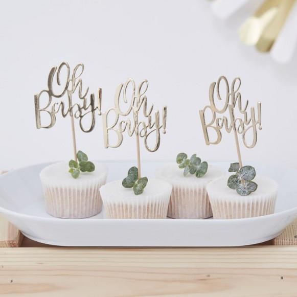 12 cake toppers Oh Baby