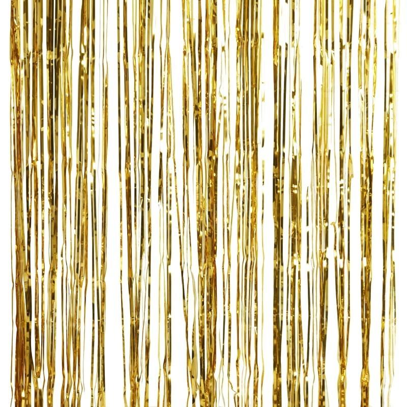 Cortina de tiras metalizadas dorada