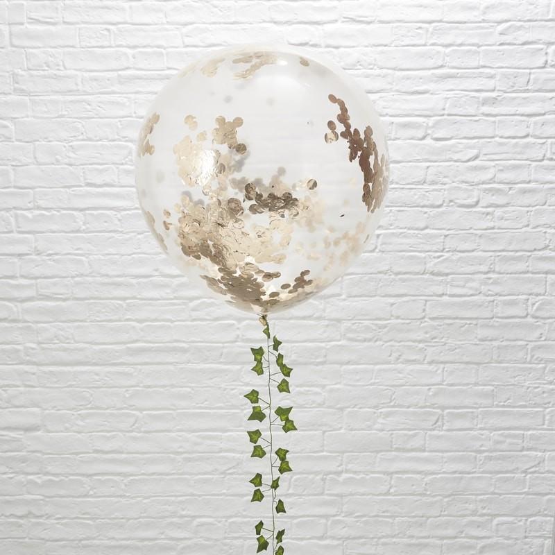 3 globos gigantes confeti Oro Rosa