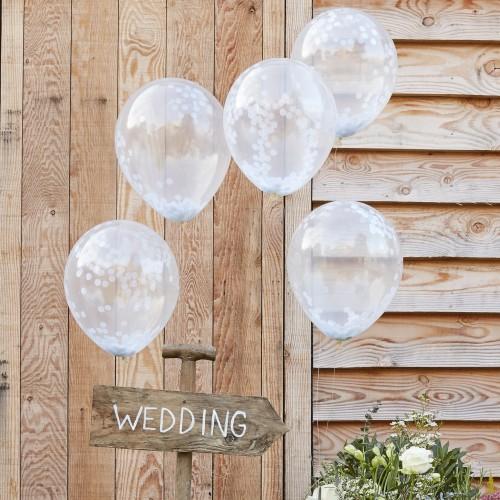 Cinco globos confeti blanco