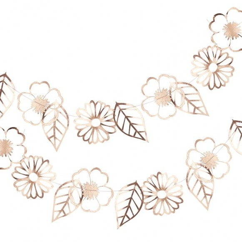 Guirnalda de flores oro rosa