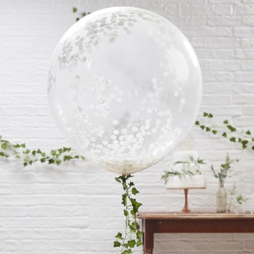 Tres globos gigantes confeti blanco