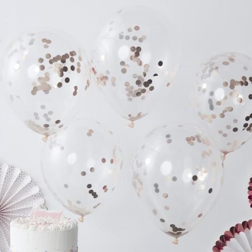 Cinco globos confeti oro rosa