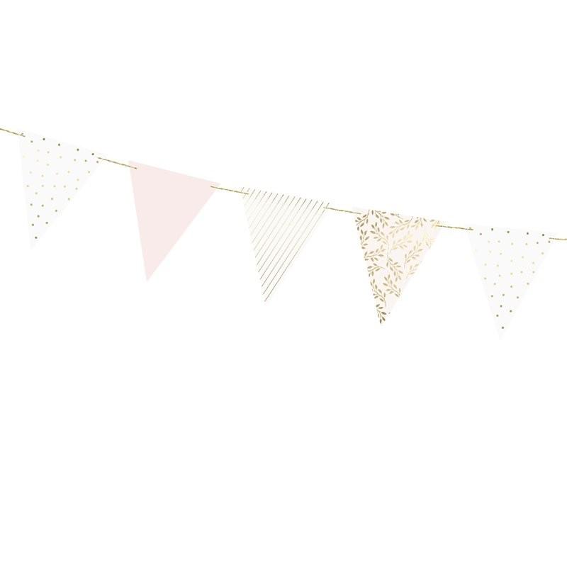 Guirnalda banderines rosa palo y dorado