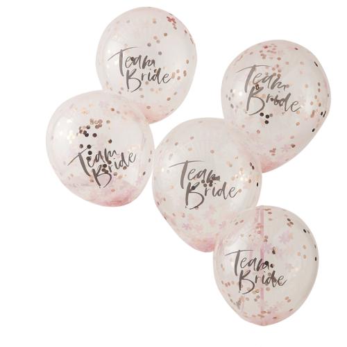 5 Globos Team Bride rosa y confeti oro rosa