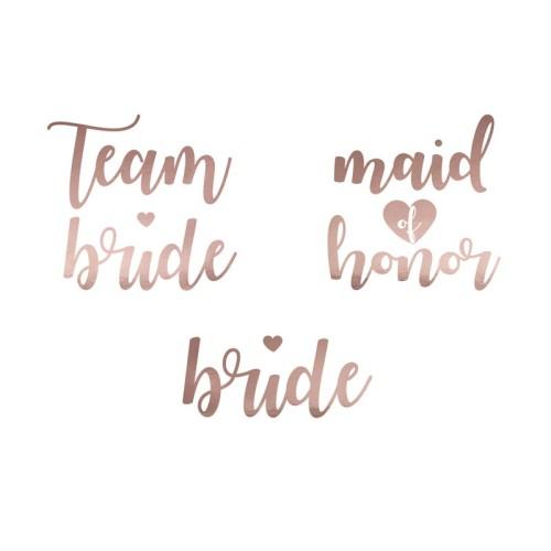 13 Tatuajes Team Bride corazón oro rosa