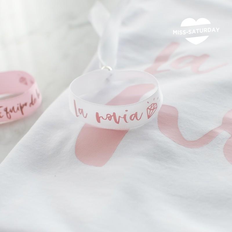 Pulsera blanca La novia - rosa