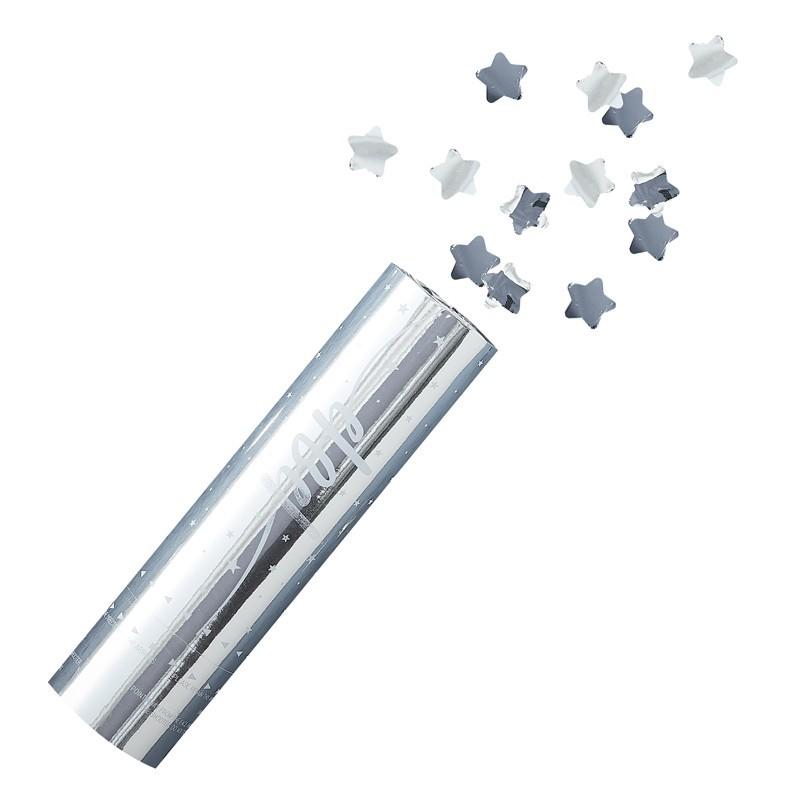 Mini Cañón confeti estrellas plata