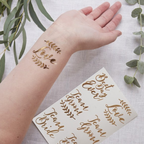 6 Tatuajes oro rosa botánico