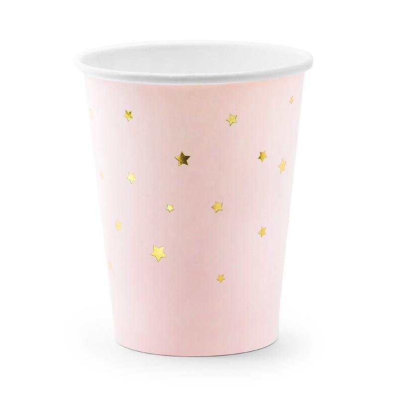 Vasos de papel rosa