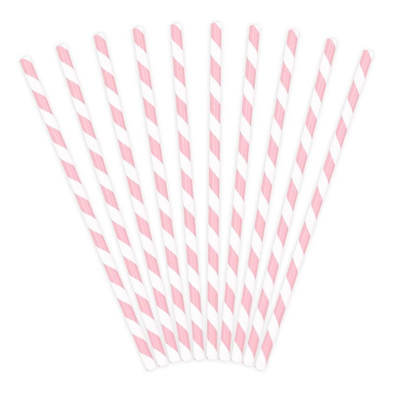 10 Cañitas rayas rosa palo