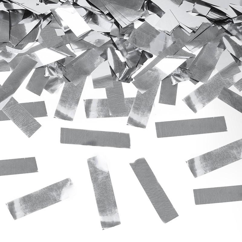 Cañón confeti plata rectangular