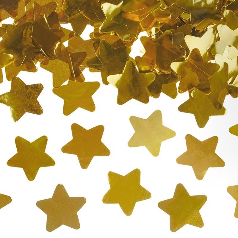Cañón confeti dorado estrellas