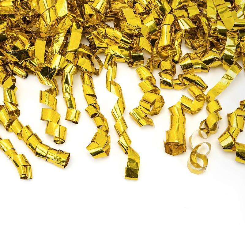 Cañón confeti dorado serpentinas