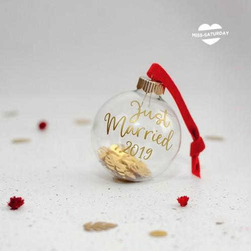 Bola Navidad vidrio - Just Married 2020