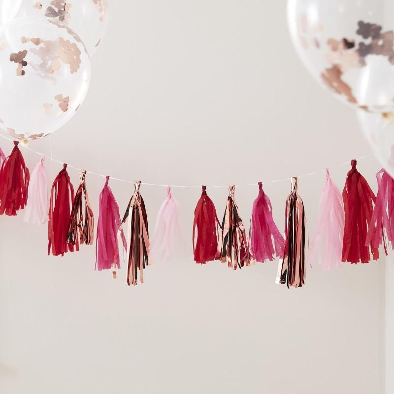 Guirnalda tassel rosa y rojo