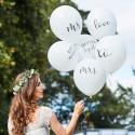 6 globos blancos con inscripciones