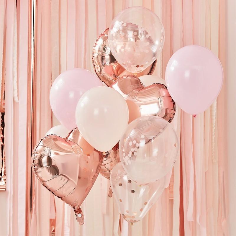 Mix globos melocotón, oro rosa