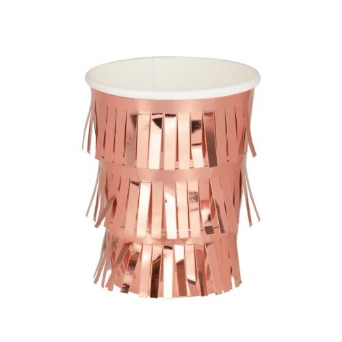 6 Vasos flecos oro rosa