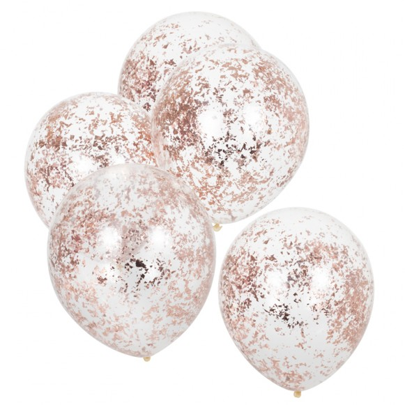 Cinco globos Micro confetis oro rosa