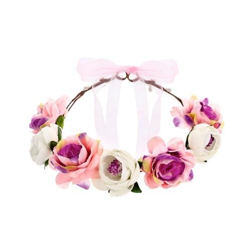 Diadema de flores rosas