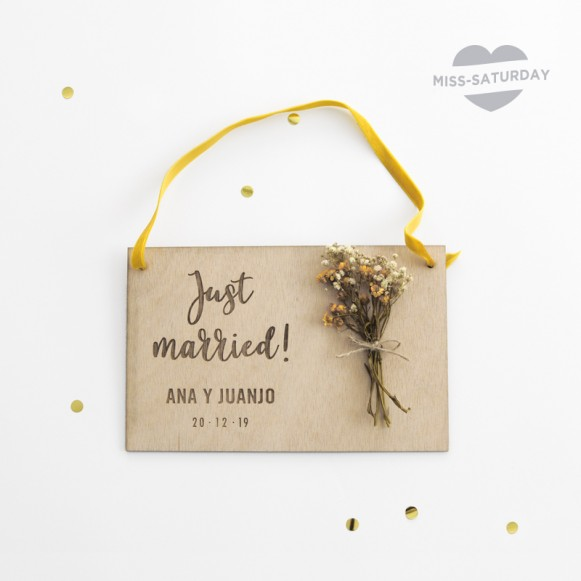 Placa personalizada Just Married Flores
