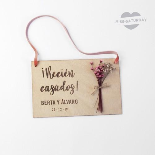 Placa personalizada Recién casados Flores