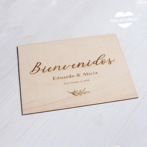 Cartel madera Bienvenidos perso. Botanic