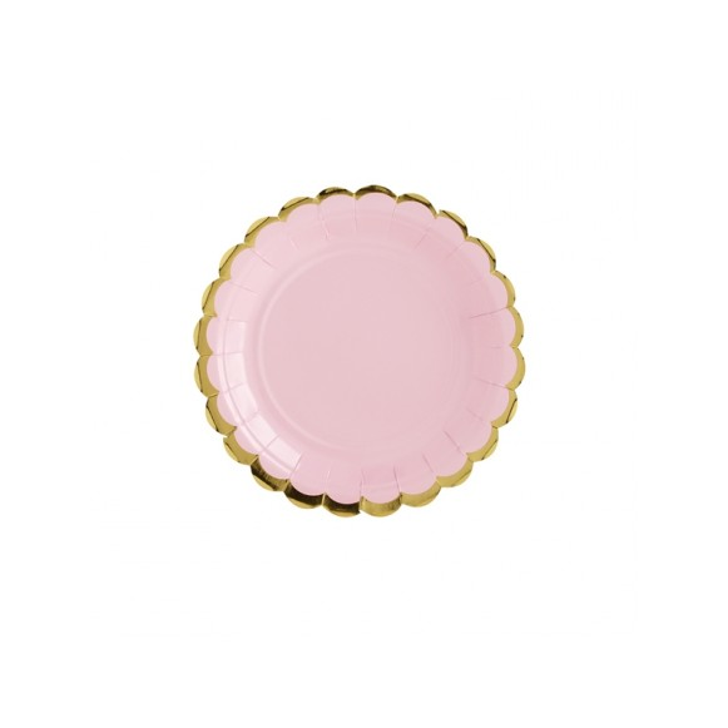 6 Platos Rosa y dorado