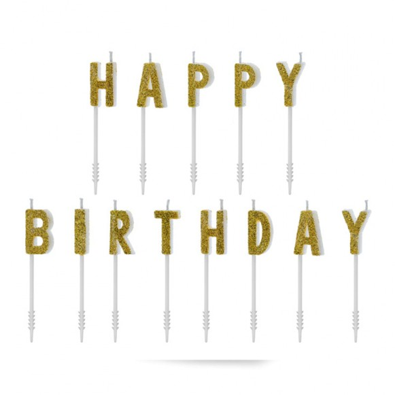 Velas Happy Birthday doradas