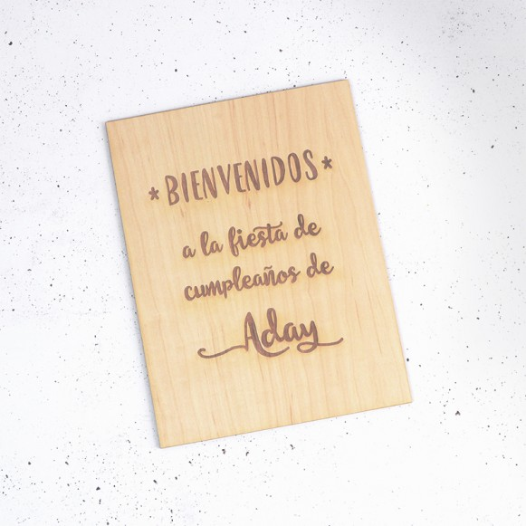 Cartel de madera natural personalizable