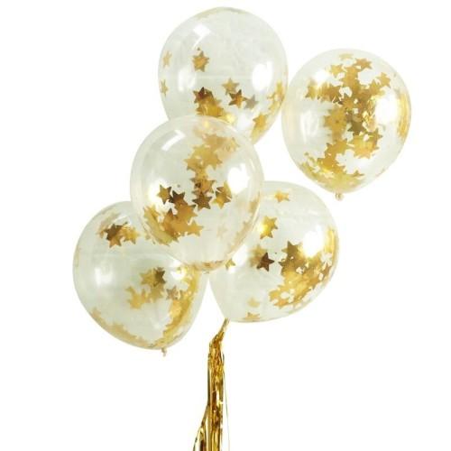 Cinco globos confetis estrellas