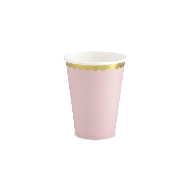 6 Vasos Rosa y dorado