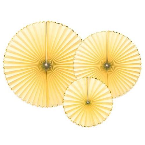 3 Abanicos Amarillo y dorado