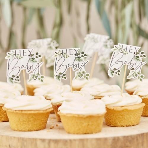 12 cake toppers Hey Baby botanic