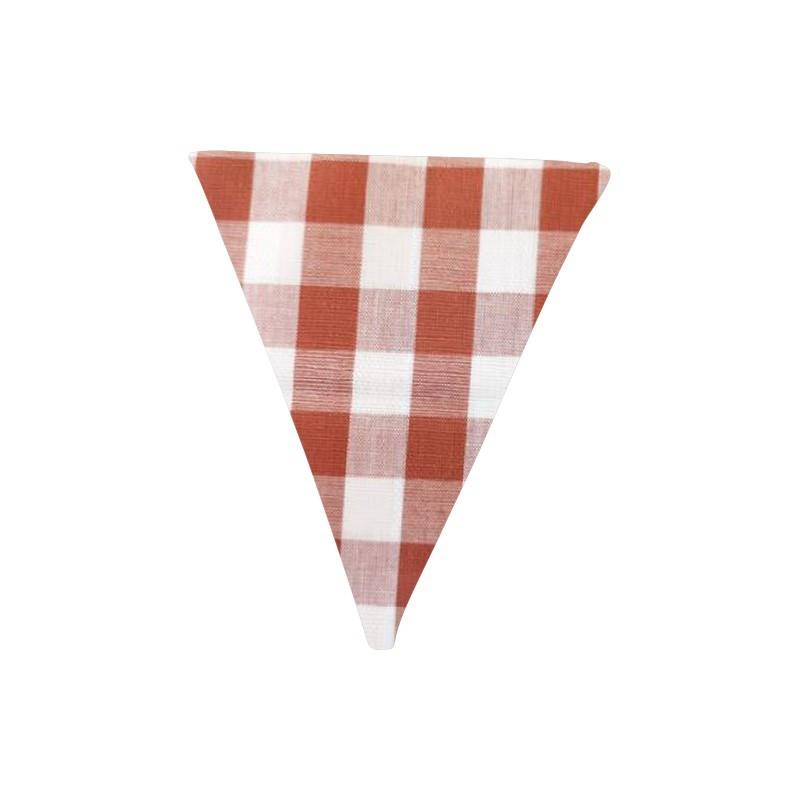 Banderín de tela Vichy teja