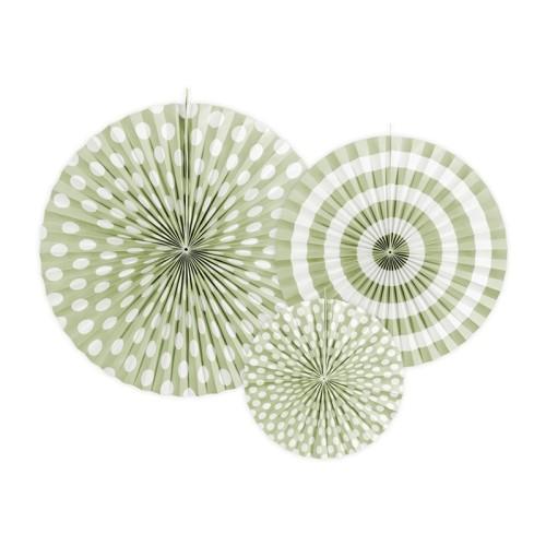 3 Abanicos verde pistacho