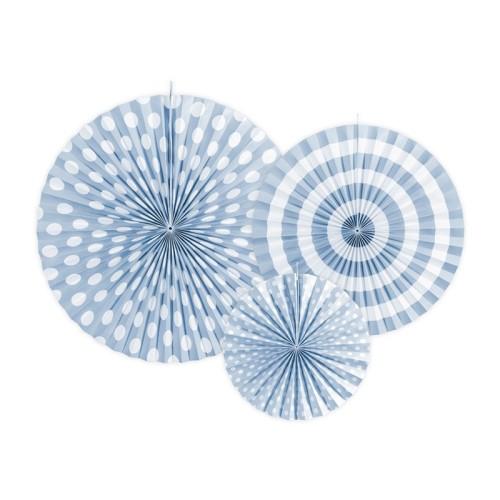 3 Abanicos azul celeste