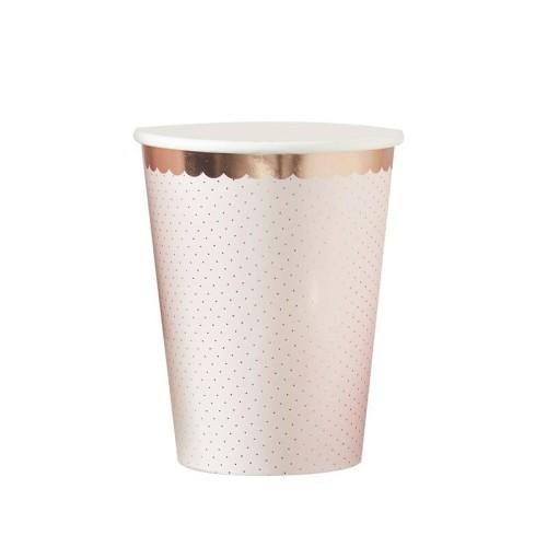 8 vasos rosa pastel y oro rosa