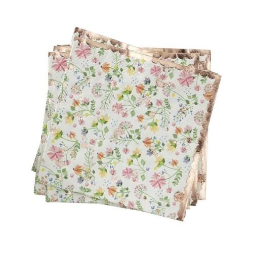 16 servilletas floral y oro rosa