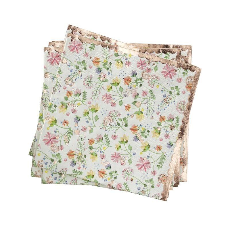 8 servilletas oro rosa